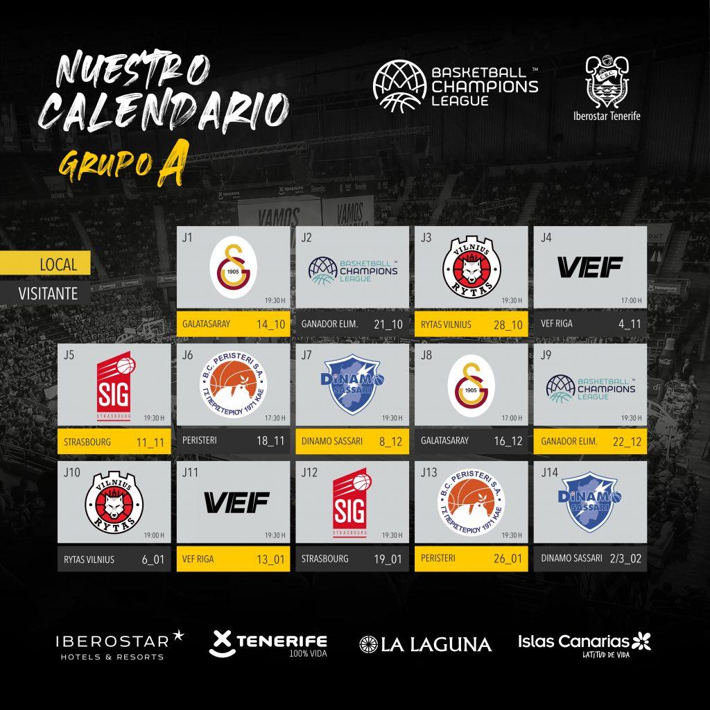 Calendario de Iberostar Tenerife para la basketball Champions League
